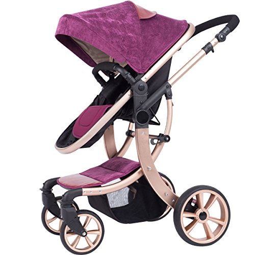 AIMILE Newborn Baby Pram Infant Foldable Anti-shock High View Jogger Stroller Multi-Positon Reclining Seat Stroller Pushchair(Lilac)