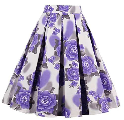Cleaivy Women's Midi Pleated A Line Floral Printed Vintage Skirts Big Flowers Purple Small