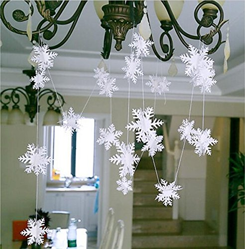 Since 3D Card Paper Christmas White Snowflake snowflake Paper Flowers Garland Banner For Wedding Holiday Festival Party Home Decor 3M (Garland Felt Snowflake)