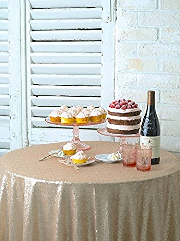 Sequin Tablecloth-36Inch-Round-Champagne,2017 New Arrival Sequin Overlay Glitz Table Linen (Champagne)
