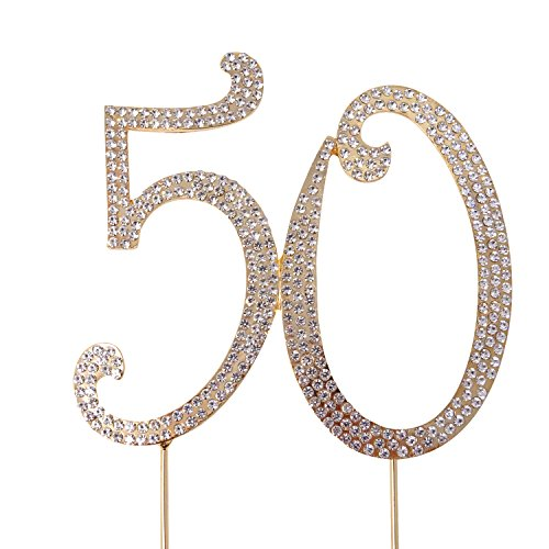 Honbay 50 Cake Topper Premium Sparkly Crystal Rhinestones Cake Topper Cake Decoration for 50th Birthday or 50th Wedding Anniversary(50 Gold)