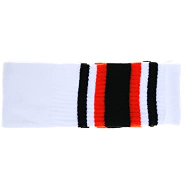 c092be035 Choobes (Unisex) 25 Inch knee high White tube socks with Black Red stripes   Amazon.co.uk  Clothing