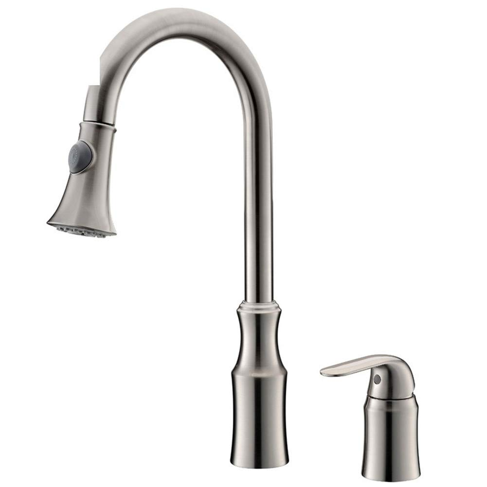 IANGL Tippen Sie auf Kupfer Pull Kitchen Sink Wasserhahn Double Water Pull Draht Zeichnung Wasserhahn