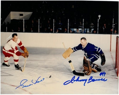 Gordie Howe and Johnny Bower Autographed 8x10 Photo #3 - ...