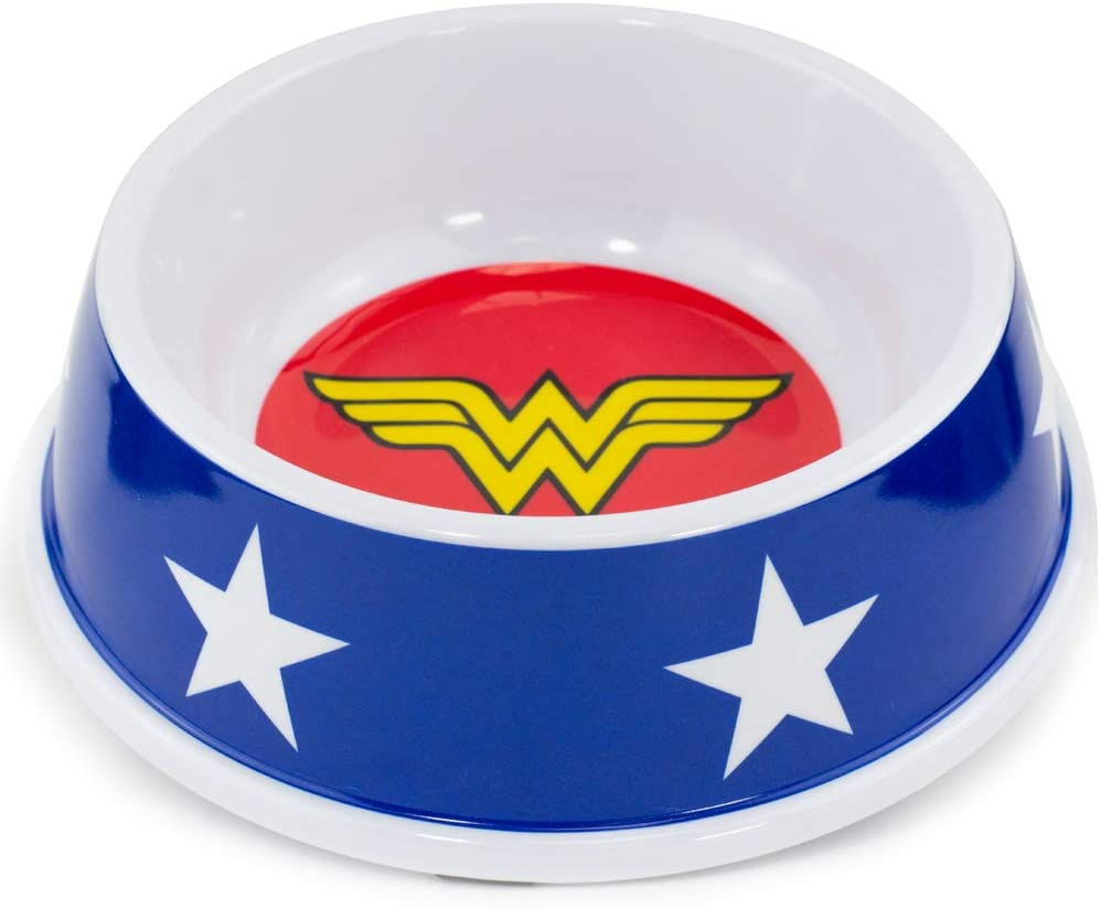 Buckle-Down Dog Food Bowl Wonder Woman Icon Stars 16 Ounces