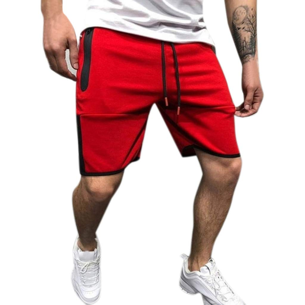NUWFOR Men Zipper Casual Splice Stripe Beach Work Casual Men Short Trouser Shorts Pants(Red,US:S Waist25.98-29.92''')