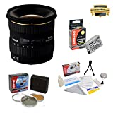 Sigma 10-20mm f/4-5.6 EX DC HSM Lens for Canon EOS Rebel T2i T3i T4i T5i 550D 600D 650D 700D Kiss X4 X5 X6 X6i X7i DSLR Digital Camera includes PRO HD 3PC Filter Kit + 7 Year Lens Warranty + Extended