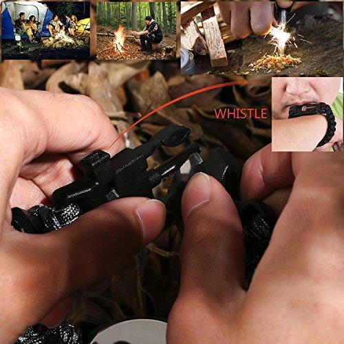 Survie paracord Bracelet de survie d'urgence, Hommes & Femmes horloge avec/Sifflet/Allume-feu/grattoir/Boussole et… 5
