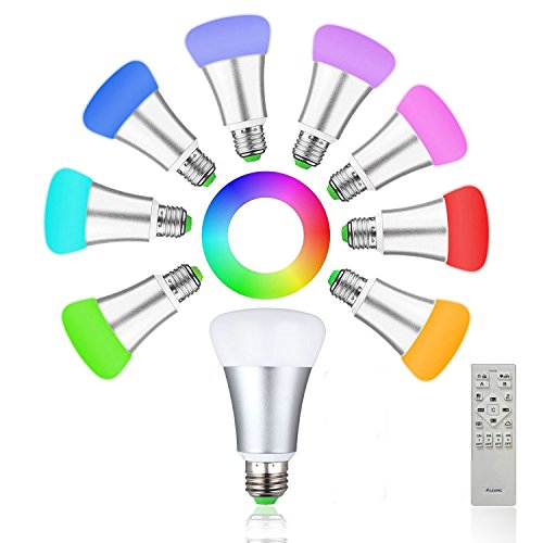2 IN 1 9Wx2 RGB+CW Color Changing LED Smart Bulbs +Touch Remote Control Brightness Dimmable CFL included Party (Suitable For LEONC 52