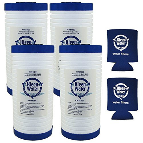 Aqua-Pure AP810, AP801 & Whirlpool WHKF-GD25BB Compatible Water Filter Replacement Cartridges, 4 1/2 X 9 7/8 Inch, 5 Micron (4) with Genuine KleenWater Can Holders (2)