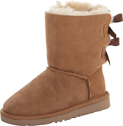 [UGG Girls Bailey Bow Pull on Boot (Toddler/Little Kid/Big Kid), Chestnut, 4 M US Big Kid] (Brown Boots For Kids)