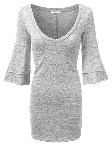 Doublju Bell Sleeve Deep V-Neck Marled Tunic Sweater Dress (Made In USA / Plus size available) HGRAY MEDIUM