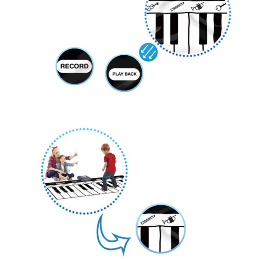 Play Keyboard Mat 71 Inches 24 Keys Giant Jumbo Sized Musical Keyboard Playmat With Record Playback Demo Play Adjustable Vol Foldable Floor Keyboard Piano Dancing Activity Mat Step And Play Instrument by GAOCAN-gq (Image #6)