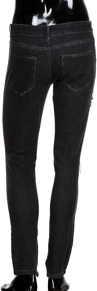 QBQCBB Jeans for Men Plus Size Elastic Waist Denim Pants Blue Destroyed Trousers