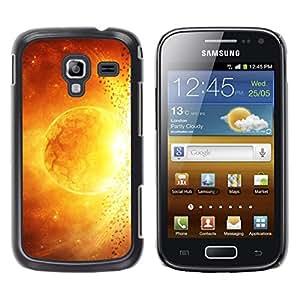 Qstar Arte & diseño plástico duro Fundas Cover Cubre Hard Case Cover para Samsung Galaxy Ace 2 I8160 / Ace2 II XS7560M ( Sun Star Magma Fire Art Yellow Red Apocalypse)