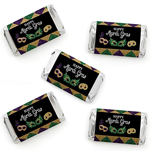Big Dot of Happiness Mardi Gras - Mini Candy Bar Wrapper Stickers - Masquerade Party Small Favors - 40 Count -
