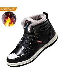 Snow Boots for Men Leather Ankle Winter Shoes Waterproof Hiking Boots for Outdoor Anti Skid Fashion Sneakers with...