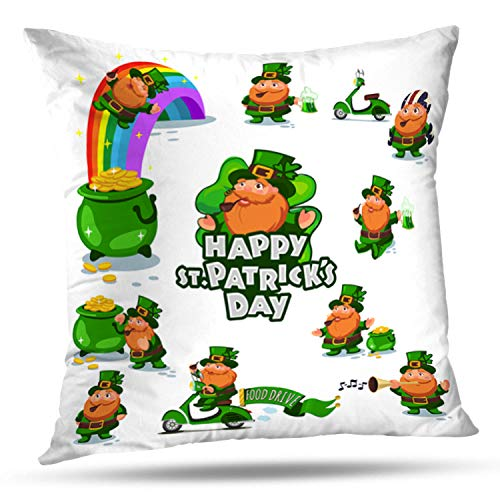 KJONG Big Day Symbols Cartoon Holiday Four Leprechaun Clover Gold Square Decorative Pillow Case 20 x 20inch Zippered Pillow Cover for Bedroom Living Room(Two Sides Print)
