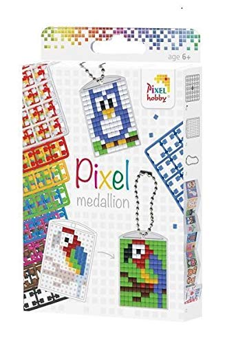 Pixel Hobby DIY Kids Mini Mosaic Pixel Kit Key Chain Medallion: 3 Pcs 8 Colors