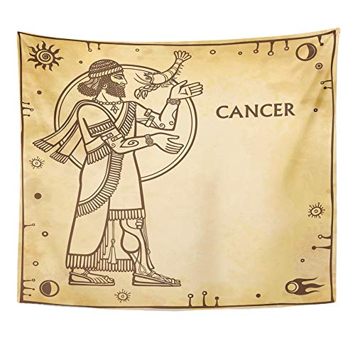 Emvency Tapestry Artwork Wall Hanging Zodiac Sign Cancer Drawing Based on Motives of Sumerian Full Growth Imitation Old 50x60 Inches Tapestries Mattress Tablecloth Curtain Home Decor Print