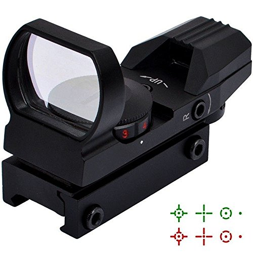[LASPUR Tactical Optic 4 Reflex Green Red Dot Sight Scope with Dual Illuminated Reticle Crosshair for Weapon Rifles Pistol Handgun Gun Rail Mount, Black] (4 Cp Double Handle)