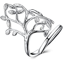 Family Tree of Life Wedding Band Engagement Ring 925 Sterling Silver Plated Gift For Women Mom Girl