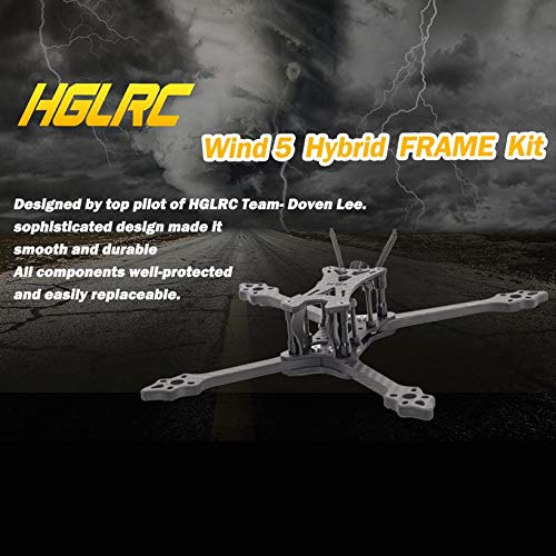 HGLRC Wind 5 Hybrid FPV Racing Drone Frame Kit for 5'' Propellers Quadcopter by Wikiwand (Image #3)