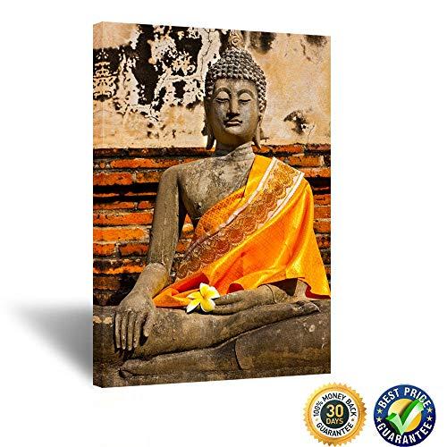 Kreative Arts Buddha Stone Statue at Wat Yai Chaimongkol Ayutthaya Bangkok Thailand Canvas Wall Art Photography Prints Stretched and Framed Modern Decor Paintings Ready to Hang 24x36inch
