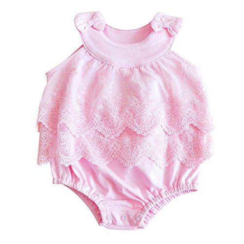 Infant Sweet Pink Kids Clothing (BOBORA Newborn Baby Girls Lace Floral Romper Jumpsuit Bodysuit Outfits (M/6M, Pink))