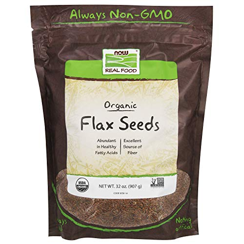 NOW Foods, Organic Flax Seeds, Source of Essential Fatty Acids and Fiber, Certified Non-GMO, Kosher, 2-Pound (Best Non Gmo Foods)