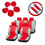 70 impala steering wheel - ECCPP Universal Car Seat Cover w/Headrest/Steering Wheel/Shoulder Pads - 100% Breathable Embossed Cloth Stretchy Durable for Most Cars Trucks Vans(Red/Gray)
