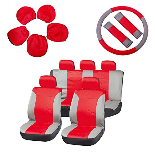 ECCPP Universal Car Seat Cover w/Headrest/Steering Wheel/Shoulder Pads - 100% Breathable Embossed Cloth Stretchy Durable for Most Cars Trucks Vans(Red/Gray)