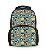 School Backpack, Student Shoulder Bookbag Laptop Bag for Teen Boys and Girls (Cartoon Big Eys Owls)