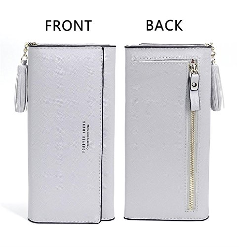 Wallets for Women, Slim Clutch Long Leather Purse Lady Checkbook Credit Card Holder with a Removable Card Slot (A-Gray) by Aiyo Fashion (Image #2)
