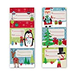Arts & Crafts : Christmas Gift Tag Stickers 60 Count Modern Colorful Xmas Designs - Looks Great on Gifts/Presents, Wrapping Paper and Gift Bags