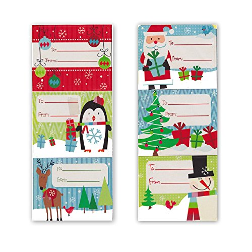 Jumbo Self Adhesive Christmas Gift Tag Stickers Labels 60 Count Modern Colorful Xmas Designs - Looks Great on Gifts/Presents, Wrapping Paper and Gift Bags -
