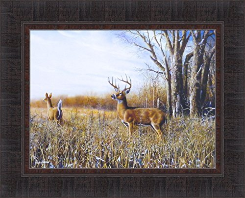 Breaking Cover by Jim Hansel 17x21 Whitetail Deer Buck Doe Field Framed Art Print Picture