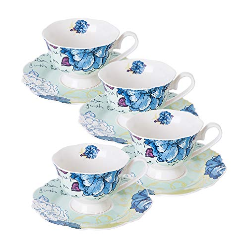 Teacups and Saucers Sets, Set of 4, Blue Peony Floral, Eileen's Reserve New Bone China Porcelain (Best Bone China Tea Set)
