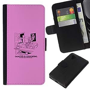 EJOY---Tirón de la caja Cartera de cuero con ranuras para tarjetas / LG Nexus 5 D820 D821 / --Galactus Ducha divertido