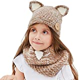 Kids Knit Hat Winter Hat Warm Animal Hat Handmade Crochet Hat Scarf Cute Animal Ear Beanies Hat for Girls Boys