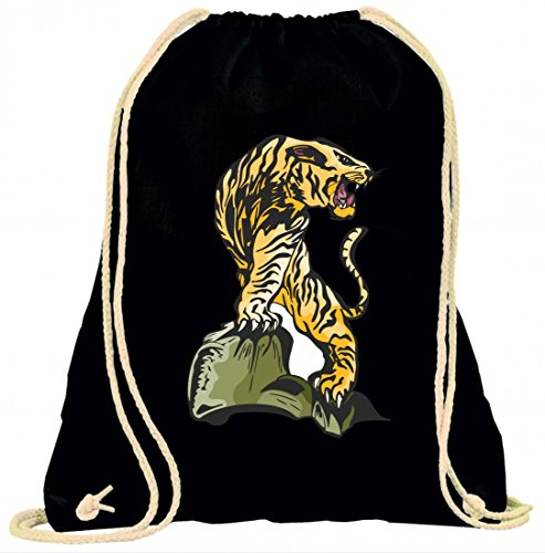 Turnbeutel Tiger Leopard auf Stein Krallen böse Raubtier jagen Beute Dschungel Wildnis mit Kordel - 100% Baumwolle- Gymbag- Rucksack- Sportbeutel Schwarz IOv2rZ