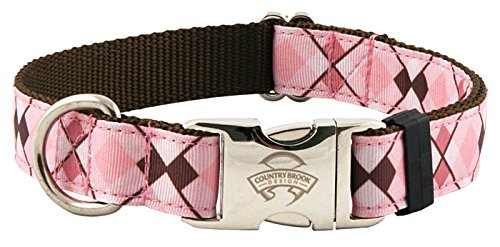 Country Brook Design | Premium Pink and Brown Argyle Ribbon Dog Collar - Large (Grosgrain Ribbon Argyle)