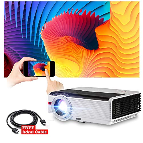 Projection Bead Glass Screen (LED Projector 5000 Lumen LCD Multimedia Home Theater Projector Full HD 1080P Video Proyector Smart TV Gaming Projector with Dual HDMI USB VGA AV Port Digital Zoom Keystone Speaker Outdoor Movie)