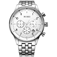 [Sponsored]BUREI Men's Multifunction Chronograph Wrist Watch Stainless Steel Bracelet Sapphire...