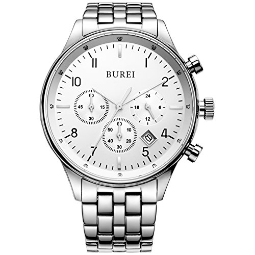 BUREI Men's Multifunction Chronograph Wrist Watch Stainless Steel Bracelet Sapphire Lens Fathe's Day Gifts ()