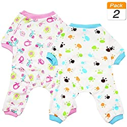 Scheppend 2-Pack Pet Clothes Puppy Cute Pajamas Dogs Cotton Rompers Cats Jumpsuits Cosy Apparel Dog Shirt Small Canine Costumes, Redhorse & Paw L