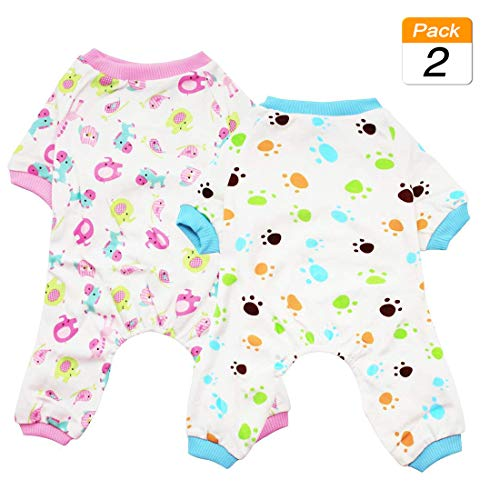 Scheppend 2-Pack Pet Clothes Puppy Cute Pajamas Dogs Cotton Rompers Cats Jumpsuits Cosy Apparel Dog Shirt Small Canine Costumes, Redhorse & Paw XS -