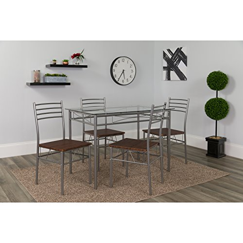 Flash Furniture Murray Hill 5 Piece Glass Dinette Set with Walnut Wood Grain - Murray Hill Dining