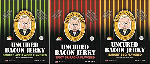 Divine Swine Bacon Jerky - Uncured Bacon Variety Pack | 3 Packs - Smoked Applewood, Spicy Sriracha, Bangin' BBQ | Premium Gluten Free Flavors