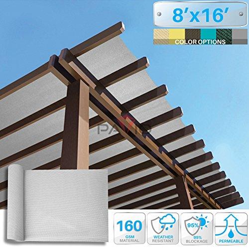 Patio Paradise 8' x 16' Sunblock Shade Cloth Roll,Light Grey Sun Shade Fabric 95%UV Resistant Mesh Netting Cover for Outdoor,Backyard,Plant,Greenhouse,Barn (Backyard Shade)